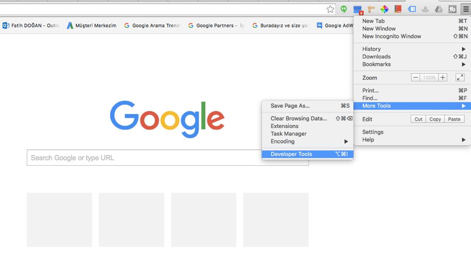 Chrome Geliştirici Ayarları