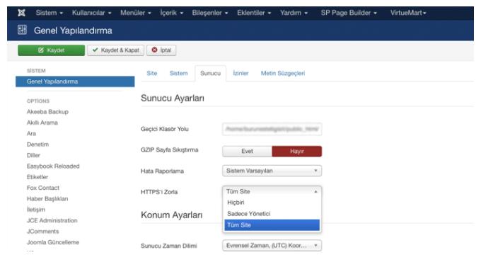 Joomla sitenizde Force SSL etkinleştirin